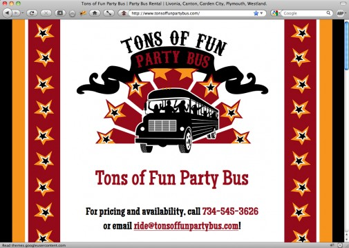 Screen shot of Tons of Fun Party Bus website