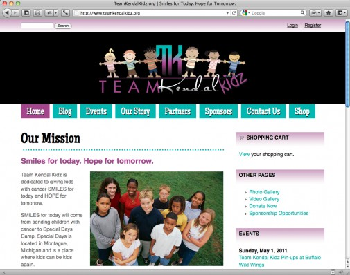 Screenshot of TeamKendalKidz.org website
